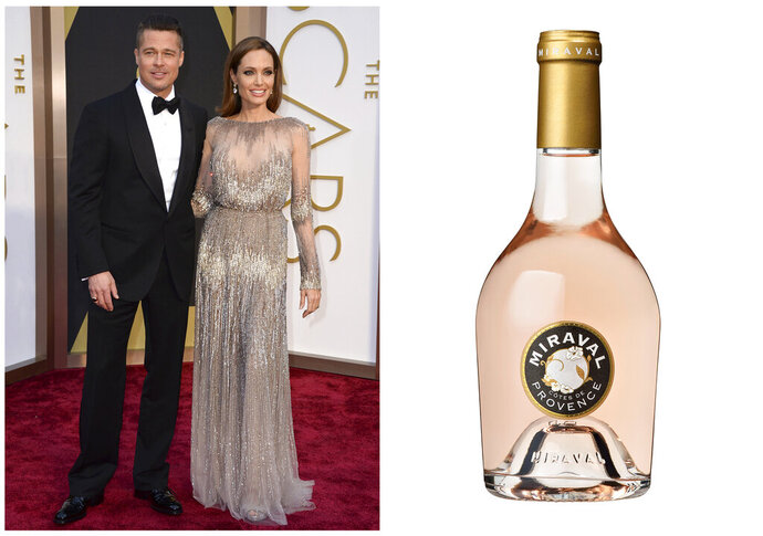 This combination photo shows Brad Pitt and Angelina Jolie at the Oscars in Los Angeles on March 2, 2014,, left, and a bottle of their Chateau Miraval Cotes de Provence Rose. Post-divorce, they still jointly own the Miraval estate and vineyard in France's Provence. (AP Photo, left, and Miraval via AP)