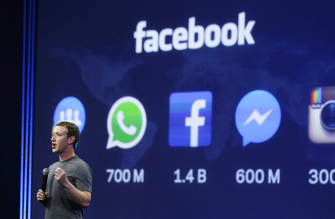 FILE - In this March 25, 2015 file photo, CEO Mark Zuckerberg gives the keynote address during the Facebook F8 Developer Conference in San Francisco. A two-year audit of Facebook's civil rights record found that the company's elevation of free expression, especially by politicians, above other values has hurt its progress on other matters like discrimination, elections interference and protecting vulnerable users. (AP Photo/Eric Risberg, File)