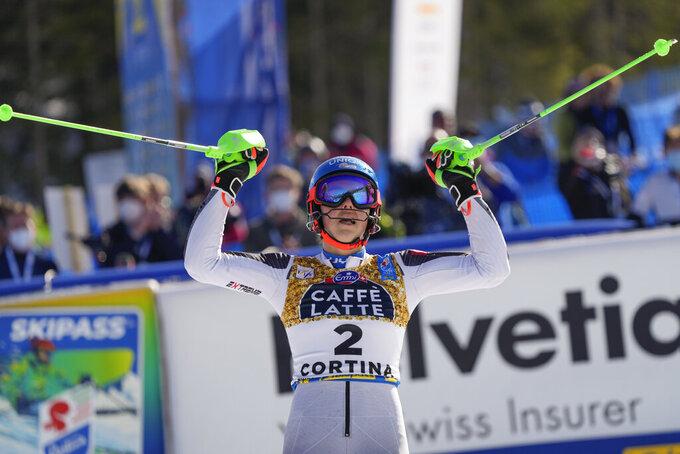 Slovakia's Petra Vlhova celebrates after winning the silver medal in the women's slalom, at the alpine ski World Championships in Cortina d'Ampezzo, Italy, Saturday, Feb. 20, 2021. (AP Photo/Giovanni Auletta)