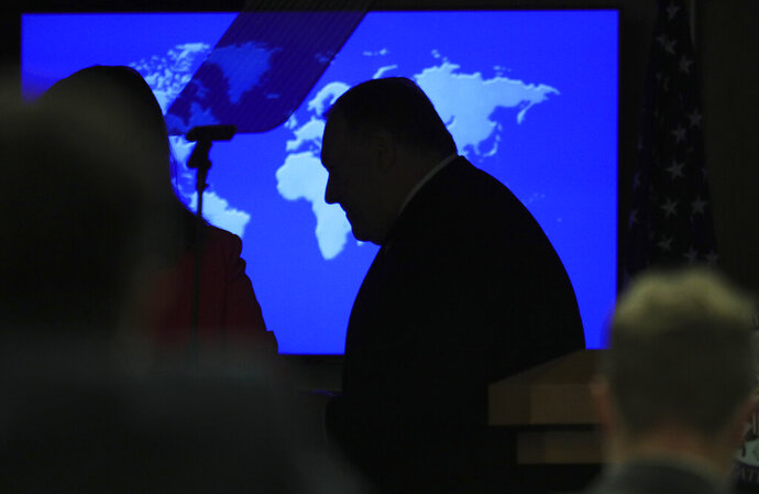 Secretary of State Mike Pompeo during a news conference at the State Department in Washington, Wednesday, July 8, 2020. (Tom Brenner/Pool via AP)