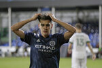 New York City forward Jesus Medina reacts after missing a shot on goal against the Portland Timbers during the second half of an MLS soccer match, Saturday, Aug. 1, 2020, in Kissimmee, Fla. (AP Photo/John Raoux)
