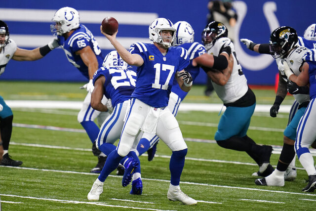 Indianapolis Colts quarterback Philip Rivers (17) throws during the first half of an NFL football game against the Jacksonville Jaguars, Sunday, Jan. 3, 2021, in Indianapolis. (AP Photo/Michael Conroy)
