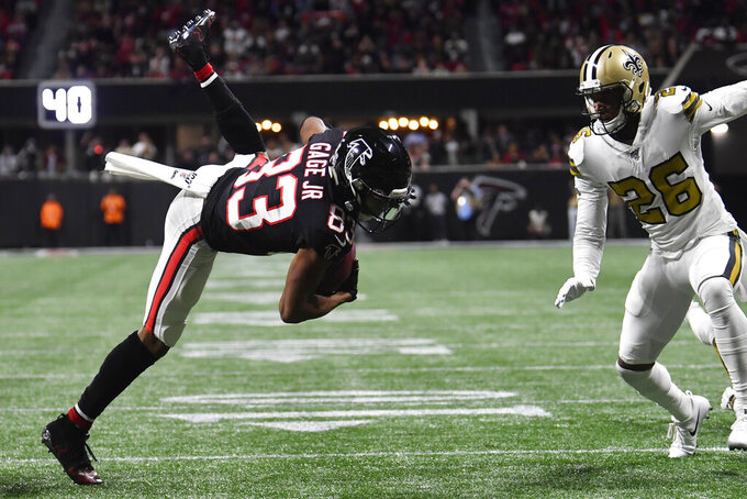 Atlanta Falcons wide receiver Christian Blake (13) runs against the New Orleans Saints during the first half of an NFL football game, Thursday, Nov. 28, 2019, in Atlanta. (AP Photo/John Amis)