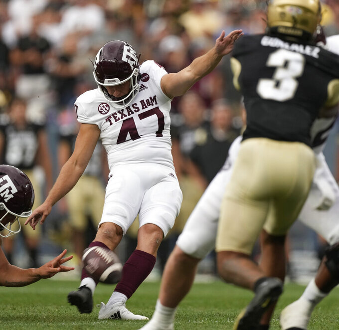 Texas A&M place kicker Seth Small kicks a field goal against Colorado in the first half of an NCAA college football game Saturday, Sept. 11, 2021, in Denver. (AP Photo/David Zalubowski)