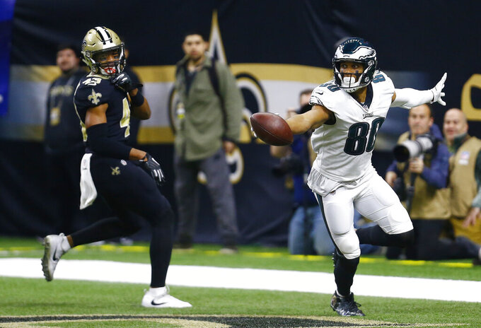 Philadelphia Eagles wide receiver Jordan Matthews (80) runs into the end zone for a touchdown against the New Orleans Saints in the first half of an NFL divisional playoff football game in New Orleans, Sunday, Jan. 13, 2019. (AP Photo/Butch Dill)