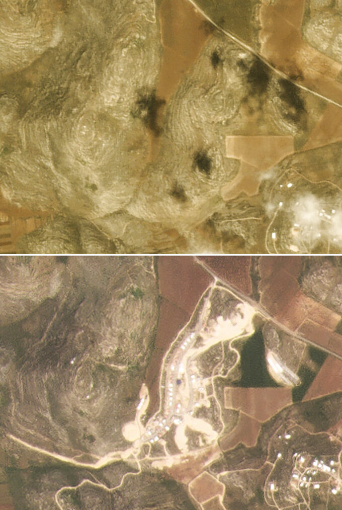 This combination of satellite images provided by Planet Labs Inc. shows the growth of the West Bank Jewish settlement of Amichai, with photos of March 5, 2017, top, and March 16, 2021. The satellite images and data obtained by the AP document for the first time the full impact of the pro-settlement policies of then-President Donald Trump. (Planet Labs Inc. via AP)