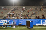 Austin Peay fans sit in the stands before the team's NCAA college football game against Central Arkansas on Saturday, Aug. 29, 2020, in Montgomery, Ala. (Jake Crandall/The Montgomery Advertiser via AP)