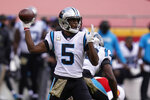 Carolina Panthers quarterback Teddy Bridgewater (5) passes against the Kansas City Chiefs during the first half of an NFL football game in Kansas City, Mo., Sunday, Nov. 8, 2020. (AP Photo/Orlin Wagner)