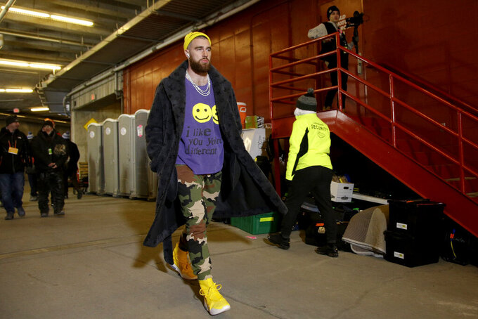 Kansas City Chiefs' Travis Kelce arrives before the NFL AFC Championship football game against the Tennessee Titans Sunday, Jan. 19, 2020, in Kansas City, MO. (AP Photo/Charlie Riedel)
