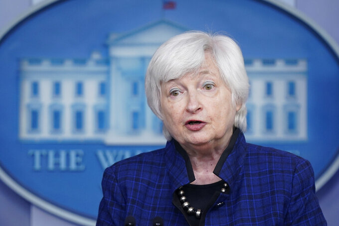 """FILE - In this May 7, 2021 file photo, Treasury Secretary Janet Yellen speaks during a press briefing at the White House in Washington.  Yellen says that the economic recovery is going to be """"bumpy"""" with high inflation readings likely to last through the end of this year. But Yellen maintained Thursday, May 27,  that the inflation pressures will be temporary and if they do threaten to become embedded in the economy, the government has the tools to address that threat.  (AP Photo/Patrick Semansky)"""