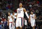Gonzaga forward Rui Hachimura (21) celebrates after Gonzaga scored against Fairleigh Dickinson during the first half of a first-round game in the NCAA men's college basketball tournament Thursday, March 21, 2019, in Salt Lake City. (AP Photo/Rick Bowmer)