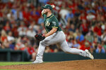 Oakland Athletics relief pitcher J.B. Wendelken throws during the fourth inning of the team's baseball game against the St. Louis Cardinals on Tuesday, June 25, 2019, in St. Louis. (AP Photo/Scott Kane)