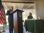 New Mexico Gov. Michelle Lujan Grisham talks during a news conference after signing a shared stewardship pact with the U.S. Forest Service on Thursday, Nov. 14, 2019 at the Randall Davey Audubon Center on the outskirts of Santa Fe, N.M. U.S. The chief of the U.S. Forest Service and New Mexico's Democratic governor signed the pact Thursday aimed at strengthening relations as they work to represent diverse interests concerning natural resources on public forest lands. (AP Photo/Morgan Lee)