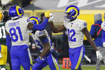 Los Angeles Rams' Van Jefferson (12) celebrates his touchdown catch with Gerald Everett during the first half of an NFL divisional playoff football game against the Green Bay Packers, Saturday, Jan. 16, 2021, in Green Bay, Wis. (AP Photo/Mike Roemer)