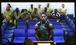 NFL free agent Antonio Brown appears at the Broward County Courthouse in Fort Lauderdale, Fla., via video link  Friday, Jan. 24, 2020. Brown was granted bail on Friday after turning himself in at a Florida jail on charges that he and his trainer attacked the driver of a moving truck that carried some of his possessions from California.  (Amy Beth Bennett/South Florida Sun Sentinel via AP, Pool)