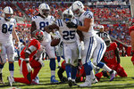 Indianapolis Colts running back Marlon Mack celebrates with offensive tackle Braden Smith (72) after his 2-yard touchdown run during the first half of an NFL football game against the Tampa Bay Buccaneers Sunday, Dec. 8, 2019, in Tampa, Fla. (AP Photo/Mark LoMoglio)