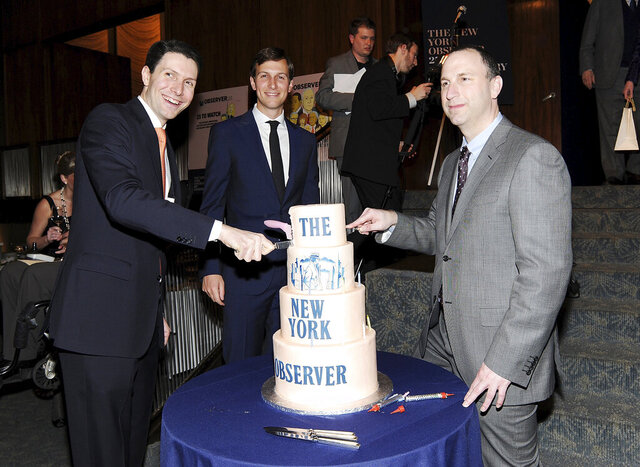 FILE- In this March 14, 2013 file photo, New York Observer editor Ken Kurson, right, publisher Jared Kushner, center, and CEO Joseph Meyer, attend The New York Observer's 25th anniversary party at The Four Seasons Restaurant in New York. On Friday, Oct. 23, 2020, federal prosecutors in New York City accused Kurson of sending threatening messages to several people in a pattern of harassment amid his divorce proceedings in 2015. (Photo by Evan Agostini/Invision/AP, File)