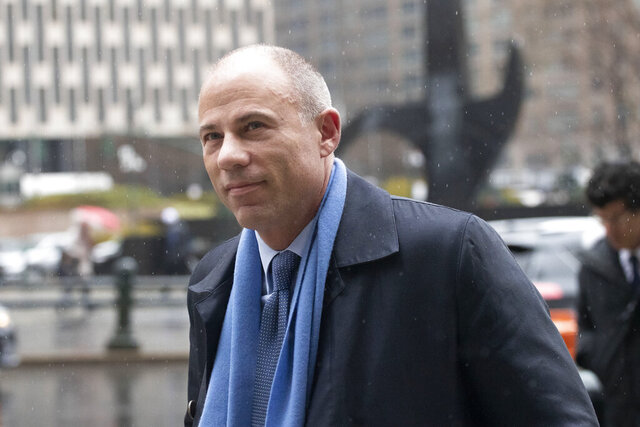 FILE - In this Dec. 17, 2019 file photo, attorney Michael Avenatti arrives at federal court to enter a plea to an indictment charging him with trying to extort up to $25 million from Nike in New York. Avenatti stood to greet 120 prospective jurors who came to a New York courtroom Monday, Jan. 27, 2020 too fill out questionnaires for his trial on charges he tried to extort millions of dollars from Nike. As they entered, jurors seemed largely unaware of Avenatti as his lawyers and others stood around him. But U.S. District Judge Paul G. Gardephe told the potential jurors that they were being considered to decide a criminal case involving charges of extortion and honest services wire fraud against Avenatti. (AP Photo/Mark Lennihan, File)