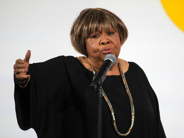 FILE -  In a Tuesday, Oct. 29, 2019 file photo, Mavis Staples performs during the Obama Foundation Summit at the Illinois Institute of Technology in Chicago. Mavis Staples Mavis Staples won the vocalist award at the Blues Music Awards Sunday, May 3, 2020.  The awards show Sunday was moved online due to the coronanavirus outbreak. (Ashlee Rezin Garcia/Chicago Sun-Times via AP)