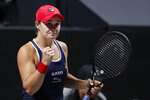 Ashleigh Barty of Australia gestures after winning the first set against Petra Kvitova of the Czech Republic during the WTA Finals Tennis Tournament at the Shenzhen Bay Sports Center in Shenzhen, China's Guangdong province, Thursday, Oct. 31, 2019. (AP Photo/Andy Wong)