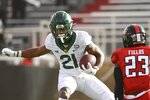 Baylor wide receiver Chateau Reed (21) runs the ball against Texas Tech during an NCAA college football game in Lubbock, Texas, Saturday, Nov. 14, 2020. (AP Photo/Justin Rex)