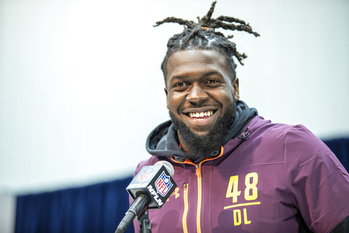 Florida defensive lineman Jachai Polite talks to the media at the NFL Scouting Combine on Saturday, March 2 2019 in Indianapolis. (Detroit Lions via AP)