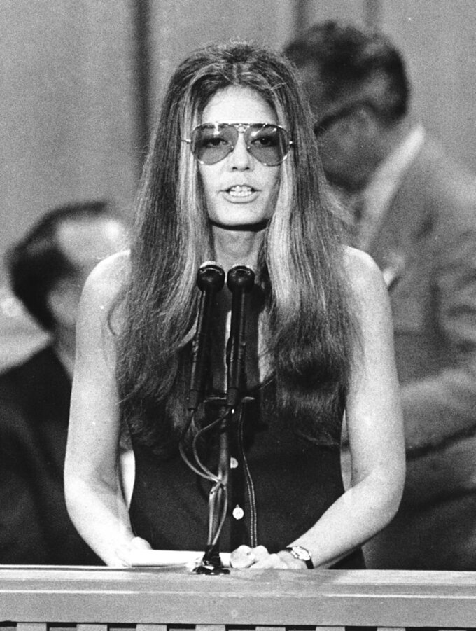 FILE - Feminist Gloria Steinem speaks at the Democratic National Convention in Miami Beach, Fla. on July 13, 1972. Steinem has won the Princess of Asturias Awards' annual prize for communication and humanities. It praised 87-year-old Steinem's long career in journalism, her bestselling books and her dedication to feminism since the 1960s. (AP Photo, File)