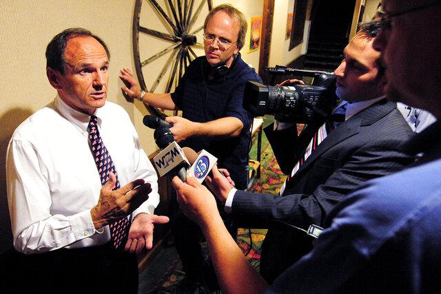 FILE - In this Aug. 9, 2011, file photo, former Republican State Senator Dan Kapanke answers questions in Onalaska Wis.  (Rory O'Driscoll/La Crosse Tribune via AP, File)