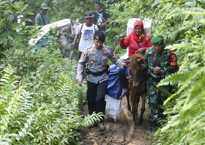 Police officers and soldiers escort electoral workers using horses to distribute ballot boxes and other election paraphernalia to polling stations in remote villages in Tempurejo, East Java, Indonesia, Monday, April 15, 2019. The world's third largest democracy is gearing up to hold its legislative and presidential elections that will pit the incumbent Joko Widodo against his contender former special forces general Prabowo Subianto. (AP Photo/Trisnadi)