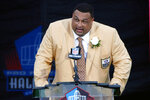 FILE - In this Aug. 4, 2012, file photo, former NFL football player Willie Roaf speaks during his induction into the Pro Football Hall of Fame in Canton, Ohio. Roaf was drafted eighth overall out of Louisiana Tech in 1993. (AP Photo/Gene J. Puskar, File)