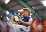 A figure depicting US President Donald Trump is shown during a press preview for the Mainz carnival, in Mainz, Germany, Tuesday, Feb. 18, 2020. (AP Photo/Michael Probst)