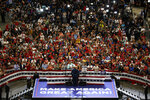 President Donald Trump speaks during his re-election kickoff rally at the Amway Center, Tuesday, June 18, 2019, in Orlando, Fla. (AP Photo/Evan Vucci)