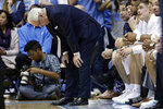 North Carolina head coach Roy Williams reacts during the first half of an NCAA college basketball game against Duke in Chapel Hill, N.C., Saturday, Feb. 8, 2020. (AP Photo/Gerry Broome)