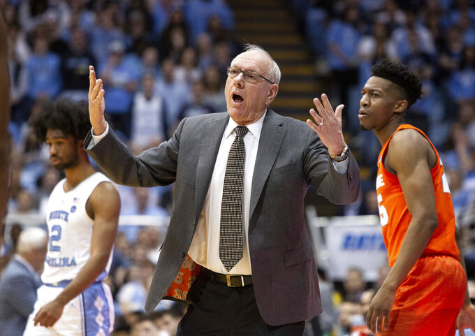 Syracuse coach Jim Boeheim reacts to a call during the first half of the team's NCAA college basketball game against North Carolina in Chapel Hill, N.C., Tuesday, Feb. 26, 2019. (AP Photo/Ben McKeown)