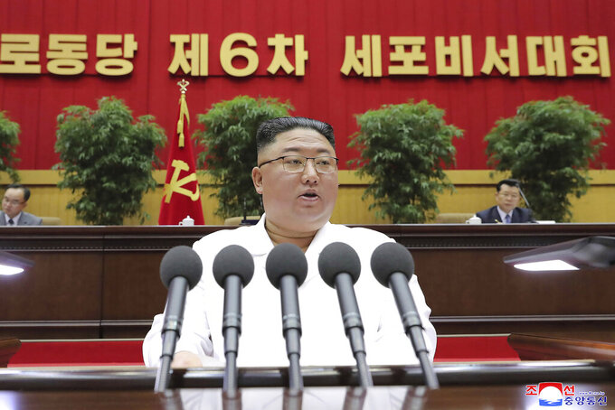 "In this photo provided by the North Korean government, North Korean leader Kim Jong Un delivers a closing speech at the Sixth Conference of Cell Secretaries of the Workers' Party of Korea in Pyongyang, North Korea, Thursday, April 8, 2021. Independent journalists were not given access to cover the event depicted in this image distributed by the North Korean government. The content of this image is as provided and cannot be independently verified. Korean language watermark on image as provided by source reads: ""KCNA"" which is the abbreviation for Korean Central News Agency. (Korean Central News Agency/Korea News Service via AP)"