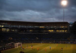 FILE - In this March 11, 2020, file photo, the Tacoma Defiance, a United Soccer League team based in Tacoma, Wash., play the San Diego Royal in a USL match inside an empty Cheney Stadium in Tacoma, Wash. Unlike the NFL, NBA or Major League Baseball that can run on television revenue, it's impossible for some minor sports leagues in North America to go on in empty stadiums and arenas in light of the coronavirus pandemic. (Joshua Bessex/The News Tribune via AP, File)