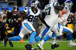 Carolina Panthers wide receiver Terrace Marshall Jr. scores against the Pittsburgh Steelers during the first half of a preseason NFL football game Friday, Aug. 27, 2021, in Charlotte, N.C. (AP Photo/Jacob Kupferman)