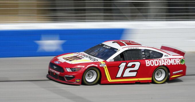 Ryan Blaney drives during a NASCAR Cup Series at Atlanta Motor Speedway on Sunday, March 21, 2021, in Hampton, Ga. (AP Photo/Brynn Anderson)