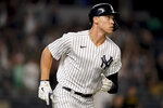 New York Yankees' Aaron Judge runs the bases after hitting a solo home run off Cleveland Indians starting pitcher Zach Plesac during the fourth inning of a baseball game Friday, Sept. 17, 2021, in New York. (AP Photo/John Minchillo)