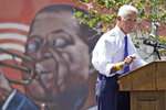 U.S. Rep. Charlie Crist, D-St. Petersburg, gestures during a campaign rally as he annouces his run for Florida governor Tuesday, May 4, 2021, in St. Petersburg, Fla. (AP Photo/Chris O'Meara)
