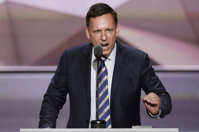 FILE - In this July 21, 2016, file photo, entrepreneur Peter Thiel speaks during the final day of the Republican National Convention in Cleveland. The Silicon Valley data-mining firm Palantir Technologies says it has confidentially filed to go public, setting up what could be the biggest public stock offering of a technology company since Uber's debut in 2019. (AP Photo/J. Scott Applewhite, File)