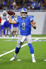 Detroit Lions quarterback Matthew Stafford throws during the first half of the team's NFL preseason football game against the Buffalo Bills in Detroit, Friday, Aug. 23, 2019. (AP Photo/Rick Osentoski)