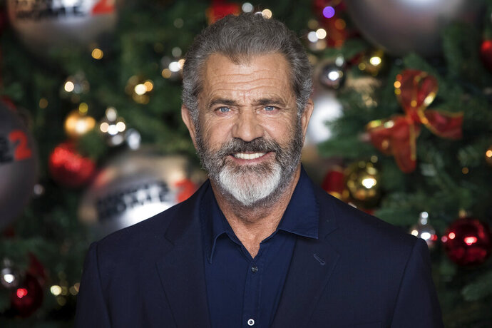 FILE - This Nov. 16, 2017 file photo shows actor Mel Gibson at the premiere of