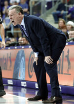 TCU head coach Jamie Dixon instructs his team in the second half of an NCAA college basketball game against Iowa State in Fort Worth, Texas, Saturday, Feb. 23, 2019. (AP Photo/Tony Gutierrez)