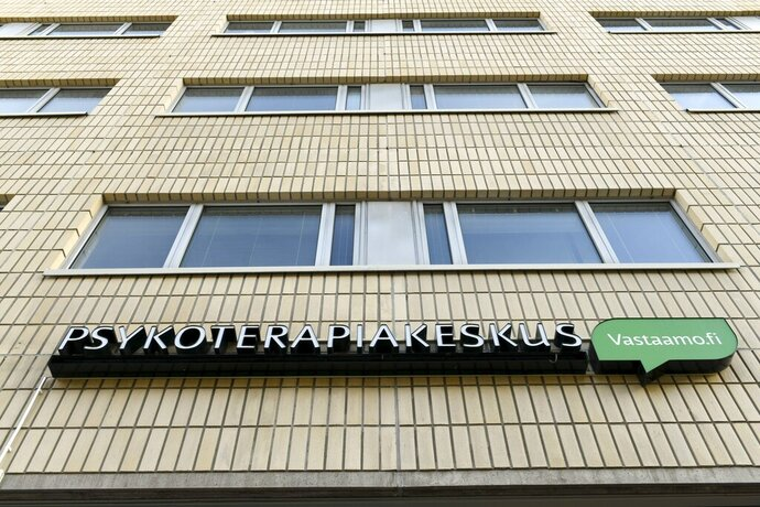 "A view of the offices of Vastaamo psychotherapy centre, in Pasila, Helsinki, Saturday, Oct. 24, 2020. Finland's interior minister has summoned key Cabinet members into an emergency meeting Sunday after hundreds of patient records at a private Finnish psychotherapy center were accessed by a hacker or hackers who are seeking ransom from clients. Finnish Interior Minister Maria Ohisalo tweeted on Sunday that authorities would ""provide speedy crisis help to victims"" of the security breach at the Vastaamo psychotherapy center, an incident she called ""shocking and very serious.""   (Heikki Saukkomaa/Lehtikuva via AP)"