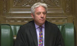 Speaker of Britain's  House of Commons John Bercow makes a statement in the House of Commons in London whether Government can hold a debate and vote on the Brexit deal with Europe, Monday Oct. 21, 2019. The government request for a meaningful vote inside the House of Commons is rejected by Speaker Burcow. (House of Commons via AP)