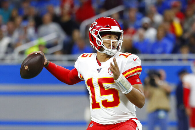 Kansas City Chiefs quarterback Patrick Mahomes throws during the first half of an NFL football game ad\, Sunday, Sept. 29, 2019, in Detroit. (AP Photo/Paul Sancya)