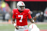 In this Sept. 8, 2018 photo Ohio State quarterback Dwayne Haskins plays against Rutgers during an NCAA college football game in Columbus, Ohio. Haskins put up huge numbers in lopsided home wins over Oregon State and Rutgers. Now let's see what he can do against one of the nation's most defensive-minded programs in TCU at AT&T Stadium in Arlington, Texas, just 14 miles from the Horned Frogs' campus. (AP Photo/Jay LaPrete)