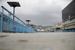 The Sambadrome parade runway stands empty in Rio de Janeiro, Brazil, Monday, Sept. 21, 2020. Rio de Janeiro on Thursday, Sept. 24, said it has delayed its annual Carnival parade, saying the global spectacle cannot go ahead in February because of Brazil's continued vulnerability to the new coronavirus pandemic. (AP Photo/Silvia Izquierdo)