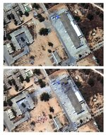 This satellite images provided by Maxar Technologies on Wednesday, July 3. 2019 show before, top, and after an airstrike hit a migrant detention facility in Tripoli, Libya. The U.N. mission to Libya says at least 44 migrants were killed when an airstrike hit the detention facility where they were being held outside the Libyan capital. (Satellite image ©2019 Maxar Technologies via AP)